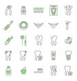 dental care tooth thin line icon set vector image