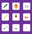 Flat icon tool set of fastener page drawing tool vector image