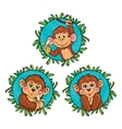 Funny monkey with a banana in his hand set vector image