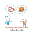 orthodontist says to the patients teeth and eating vector image