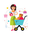 shopping girl flat style colorful cartoon vector image