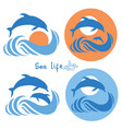 dolphins jumping in sea logo isolated on white vector image vector image