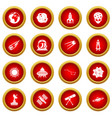 space icon red circle set vector image
