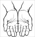 Empty open palms vector image