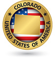 Colorado state gold label with state map vector image