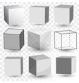 cube realistic set transparent glass block model vector image