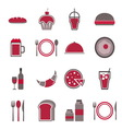 Food red icons set on white background vector image