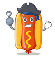 pirate hot dog cartoon character vector image