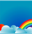 rainbow with sun and clouds vector image
