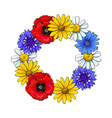round frame of wild field flowers with place for vector image