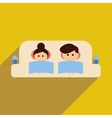 Flat web icon with long shadow man and woman couch vector image