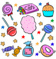 doodle of various candy colorful vector image