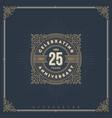 vintage anniversary flourishes logo emblem vector image vector image