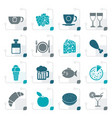 stylized food drink and beverage icons vector image vector image