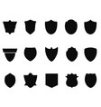 simple black shield icons vector image vector image