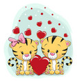 two cute tigers with hearts vector image