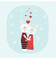 Two rabbits in love vector image