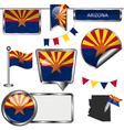 Glossy icons with Arizonan flag vector image