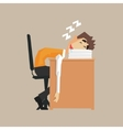 Office Worker Sleeping On Pile Of Papers vector image