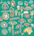 Set of isolated objects Background with summer vector image