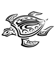 Underwater turtle in tribal style vector image vector image