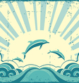 Grunge nature poster with dolphins in ocean vector image