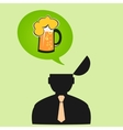 Icon man thinks about beer on Friday vector image