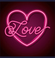 neon word love with heart design element for happy vector image
