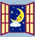 window with moon vector image