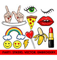 set of stickers embroidery isolated vector image