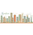 Abstract Houston Skyline with Color Buildings vector image