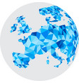 blue mosaic europe on white globe vector image