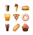 Fast food menu flat icons set vector image