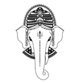 Ganesha in black and white vector image