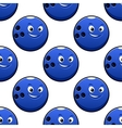 Seamless cartoon blue bowling ball characters vector image