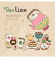 Set of hand drawn Teatime design elements vector image