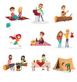summer time people activities on picnic grill or vector image