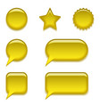 yellow glass buttons set vector image