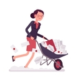 Businesswoman pushing a wheelbarrow full of paper vector image