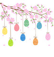 eggs on blooming spring tree vector image vector image