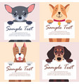 four purebred dogs holds white cards for text vector image