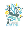 sea marine logo design summer travel and sport vector image