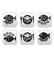 Fish and chips buttons set vector image vector image