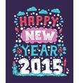 Modern flat design hipster New Year 2015 postcard vector image