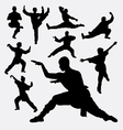 Wushu male and female martial art silhouettes vector image