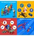 Superhero Concept Isometric Icons Set vector image