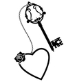 heart rose and old key vector image vector image
