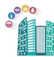 Smart city building app icon set vector image