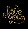 Love you glitter golden hand lettering vector image