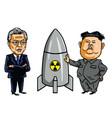 Kim jong un vs moon jae in cartoon vector image